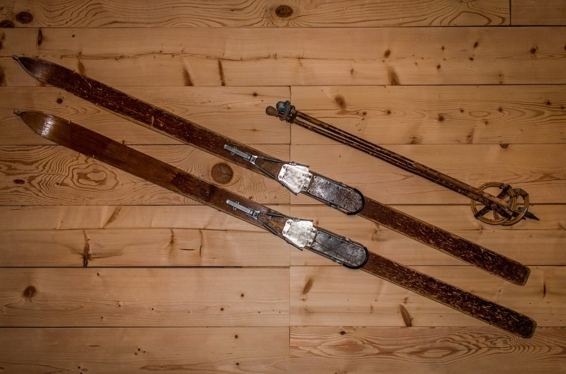 Old wooden skis
