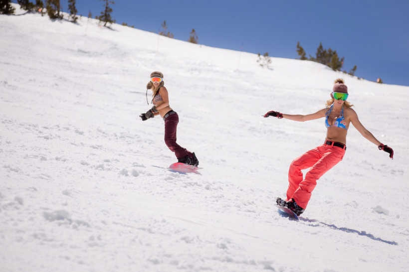 Two Women Snowboard Mammoth Mountain in Bikini Tops